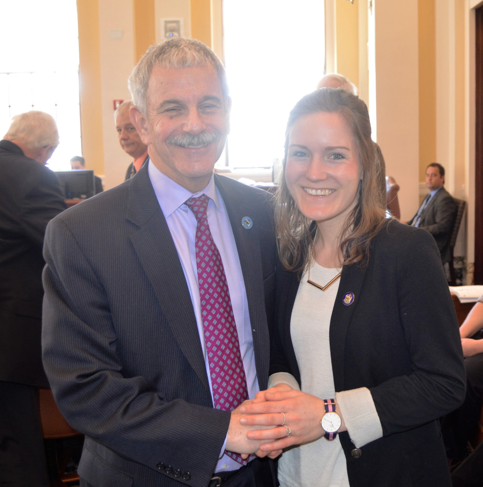 Sen. Roger Katz, left, with Isabel Choinowshi at the State House.