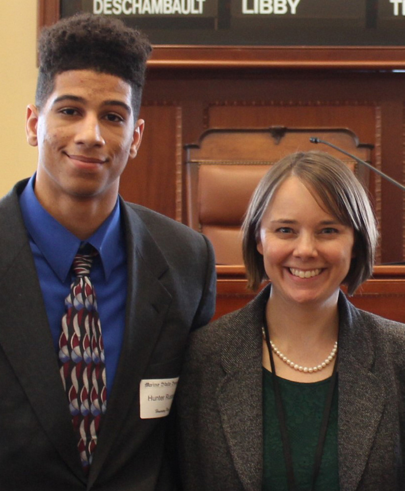 Gardiner Area High School student Hunter Russell served as an Honorary Page March 21 in the Maine Senate in Augusta. From left, are Russell and Sen. Shenna Bellows.