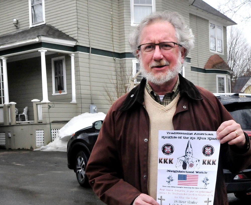 The Rev. David Anderman found this Ku Klux Klan flyer wrapped in a plastic bag with small rocks and thrown on his driveway in Waterville on Monday. He and others in the neighborhood reported the flyers to police.