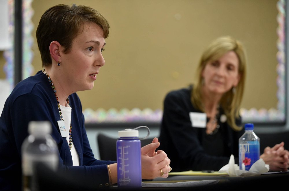 Rebecca Tapley, left, and Tamara Ranger, right, both finalists for 2016 Maine Teacher of the Year, take part in an interactive discussion on teaching at Thomas College in Waterville on Tuesday.