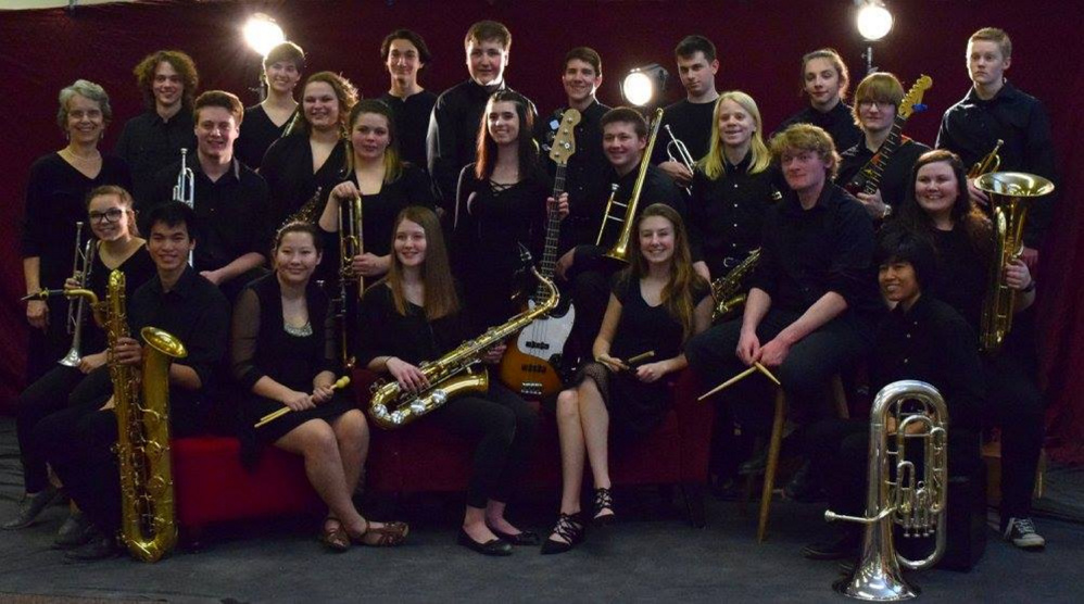 Contributed photo The Hall-Dale High School Jazz Band will join the Opus One Big Band during a benefit April 8 at the high school theater in Farmingdale. In front, from left, are Emma Buckmore, Ean Smith, Alicia Warren, Kendra Campbell, Georga Howe, Barry Nitzel, Maya Freed-Barlow and Hazel Houghton. Middle row, from left, are Deb Large, Chad Smith, Julia Stahlnecker, Morgan Heath, Madii Smith, Ian McNaughton, Eli Spahn and Bryce Braghdon. Back row, from left, are Will Fahy, Grace Moulton, Sam Pilgrim, Alden Hallet, Carter Wilson, Jett Wills, Eli Spahn and Matt Smith.