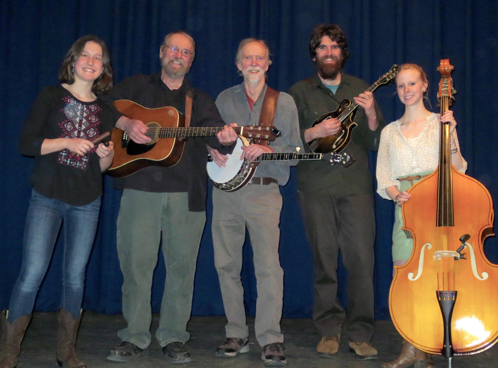 The Sandy River Ramblers, from left, are Dan Simons, Dana Reynolds, Stan Keach, Bud Godsoe and Julie Davenport.