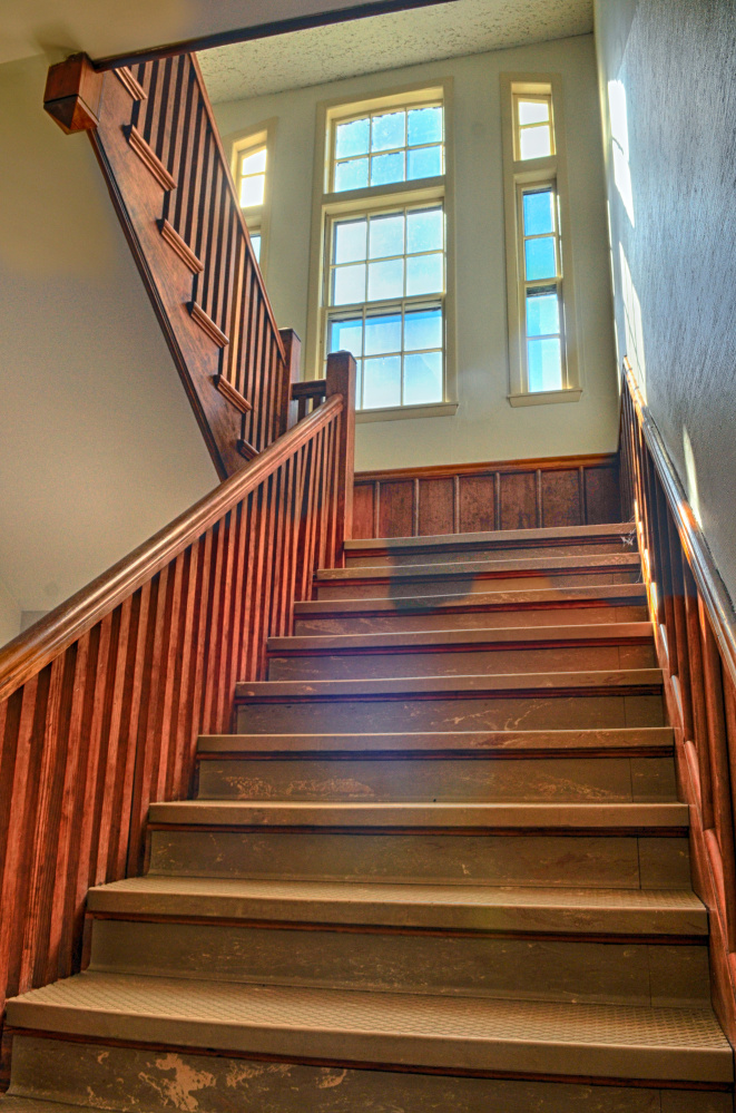 A staircase in the Central Building is seen Oct. 7, 2016, during a tour at Stevens Commons in Hallowell.