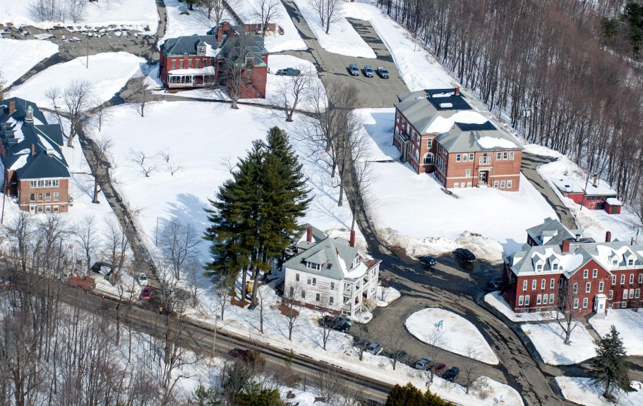 The Stevens Commons complex in Hallowell, seen on Feb. 21 from the air, is where a Portland-based affordable-housing developer proposes to restore the Central Building as housing for the elderly.