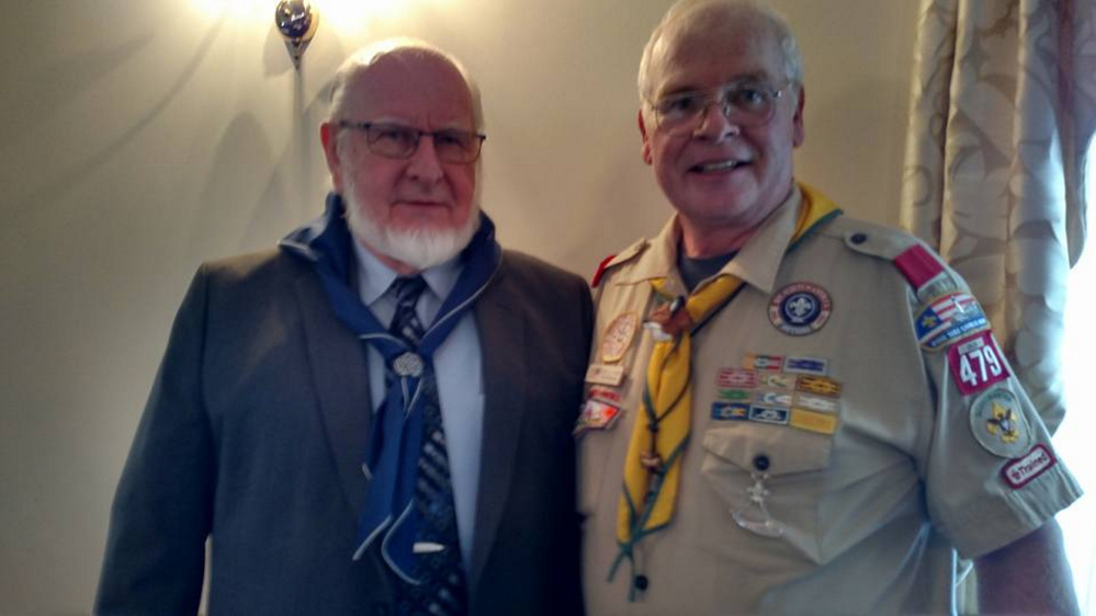 Contributed photo Ron Morrell, pastor of China Baptist Church, the newest Scout in Kennebec Valley District, with China Troop 479 Scoutmaster Scott Adams.