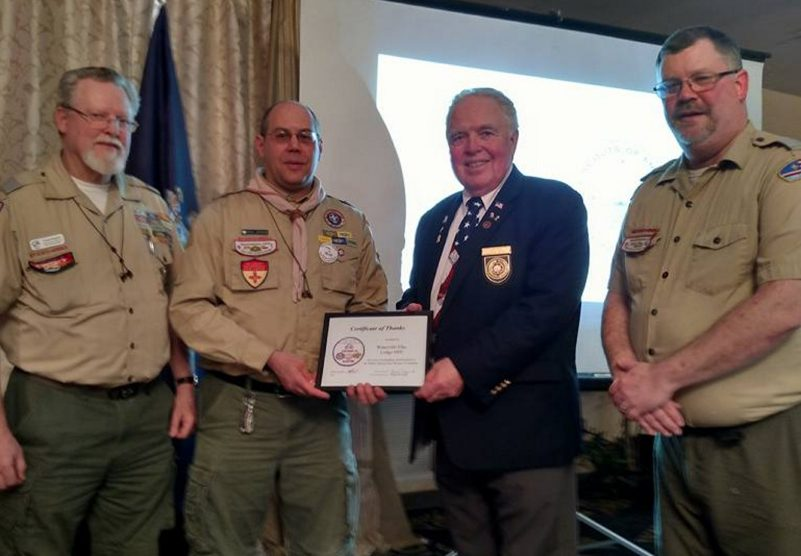 Contributed photo Exalted Ruler Alanson P. White III receives the Partners in Scouting Award from Kennebec Valley District Key 3. From left, are District Commissioner Charlie Ferguson, of Winslow, District Chairman Rick Denico, of Vassalboro, Waterville BPOE Exalted Ruler Alanson White and District Director Matt Mower.