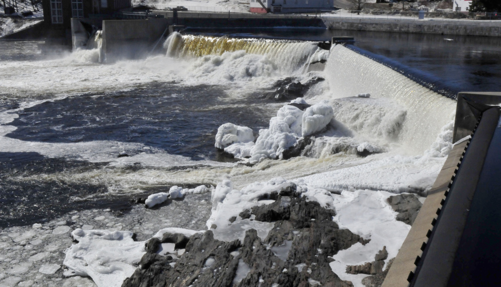 The hydro dam facility in the Kennebec River beside the closed Madison Paper Industries mill on March 6, 2017.