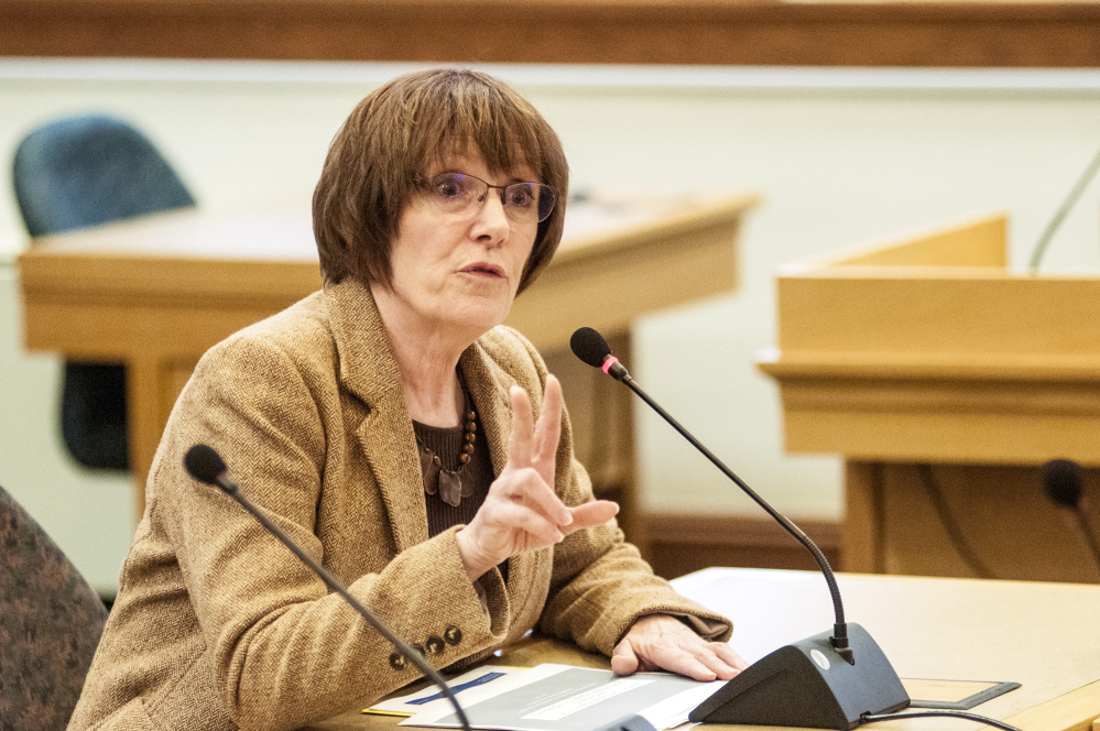 Sandy Matheson, executive director of Maine Public Employees Retirement System, testifies in Appropriations and Financial Affairs Committee on Friday in the State House in Augusta.