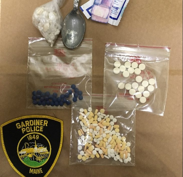 Gardiner police say they found these drugs in a car on Summer Street Sunday night.