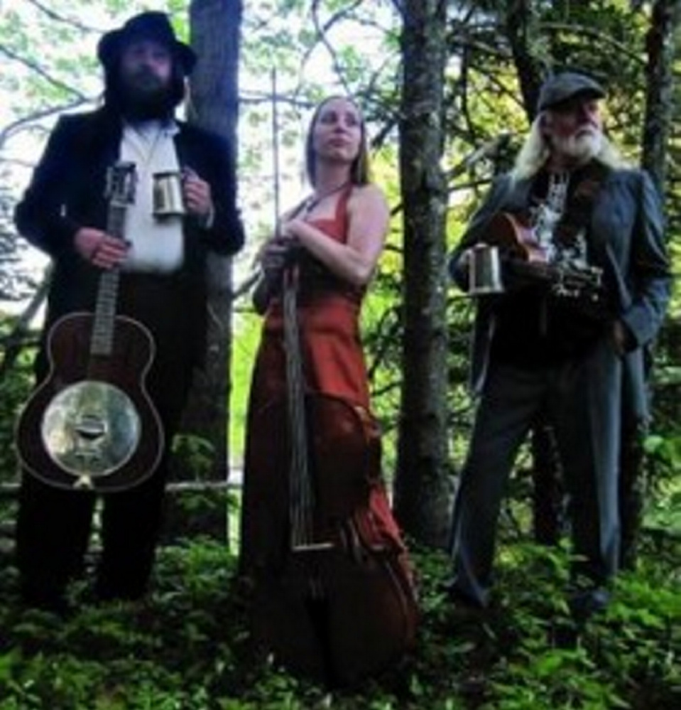 The Ale House String Band, from left, are Oren Robinson, April Reed-Cox and Brian Dunn. The band will perform April 15 at Johnson Hall Performing Arts Center in Gardiner.