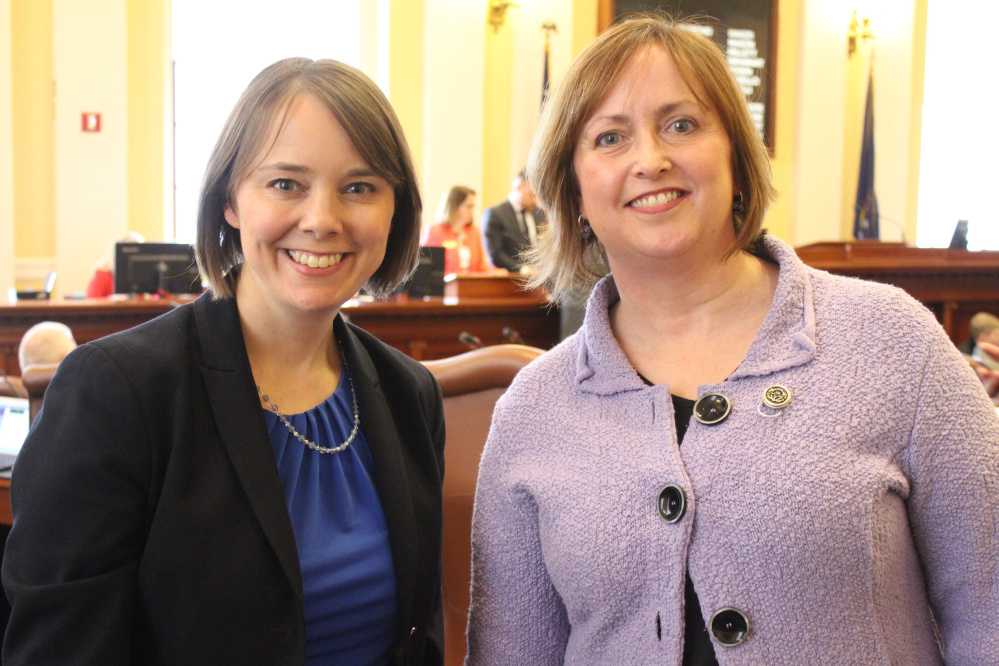 Contributed photo Sen. Shenna Bellows, left, welcomes Susan Reisert, a Hallowell pastor, to the Maine Senate to give prayer on April 4.