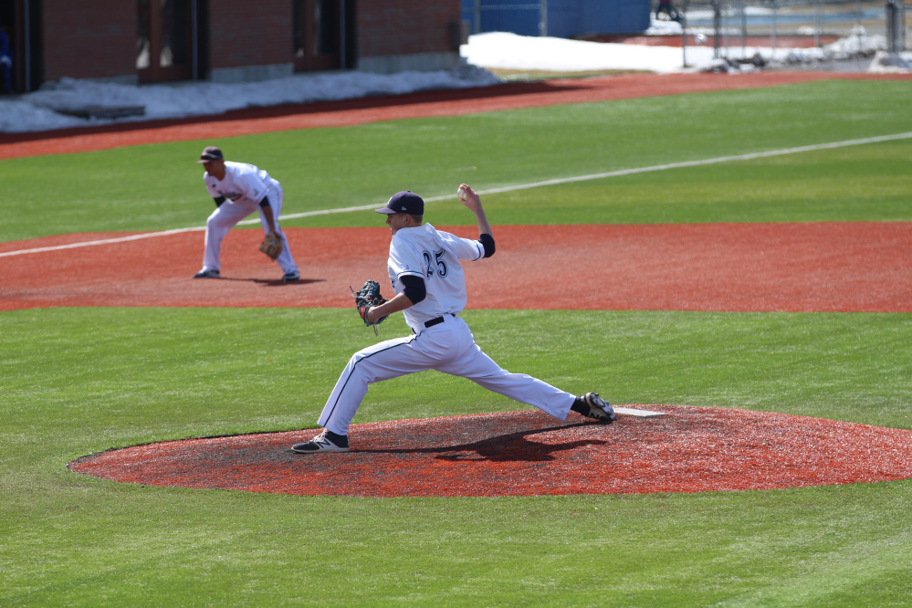Bingham's Cody Laweryson pitches for the University of Maine during a recent game in Orono.