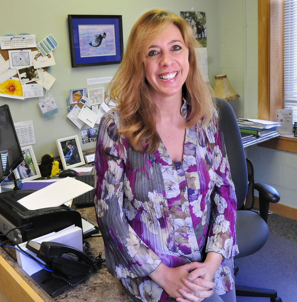 Tina Chapman, seen in her office at Kennebec Behavioral Health in Waterville, has been chosen to receive the Mid-Maine Chamber of Commerce 2016 Outstanding Professional of the Year award.