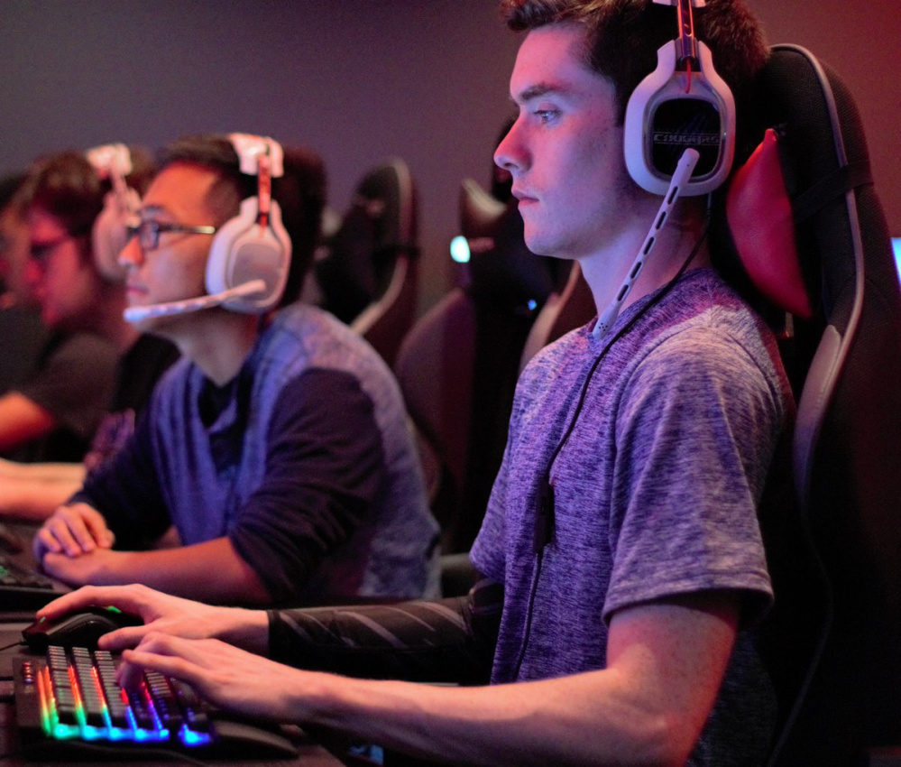 Connor Doyle plays League of Legends, an online game that pits players from across the country and world against each other, in September.