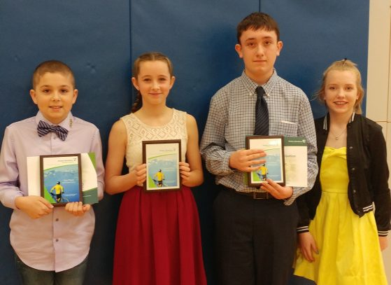 Windsor Elementary School's public speaking winners from left are Damon Wilson, Andrea Richardson, Tyler Ormande and Kaylah Kronillis.