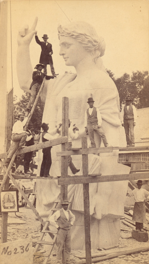 A Augustus F. Morse photograph of the Statue of Faith for the Plymouth Rock Monument. Carved at the Hallowell Granite Company in 1876-77.