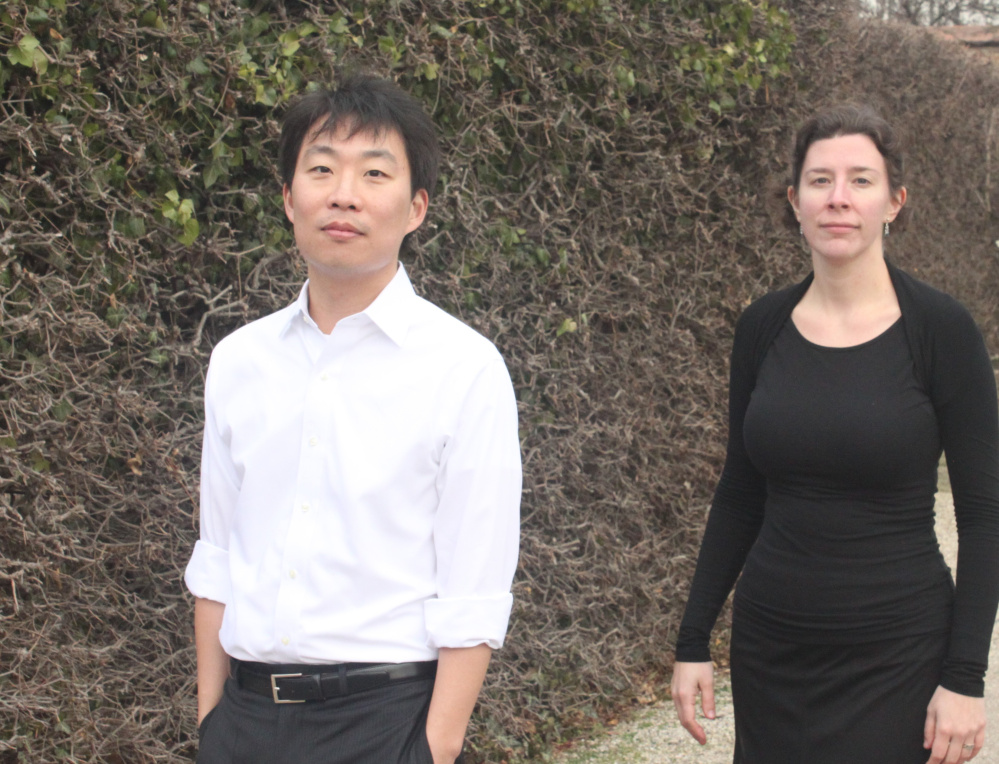 David Kim, left, and Lauren Basney will perform at 7:30 p.m. Saturday, April 22, at the Emery Community Arts Center.