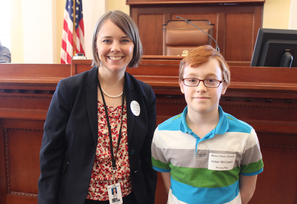 Contributed photo Gardiner Regional Middle School student Aidan McCaslin, right, served as an Honorary Page March 23 in the Maine Senate. With McCaslin is Sen. Shenna Bellows, D-Manchester.