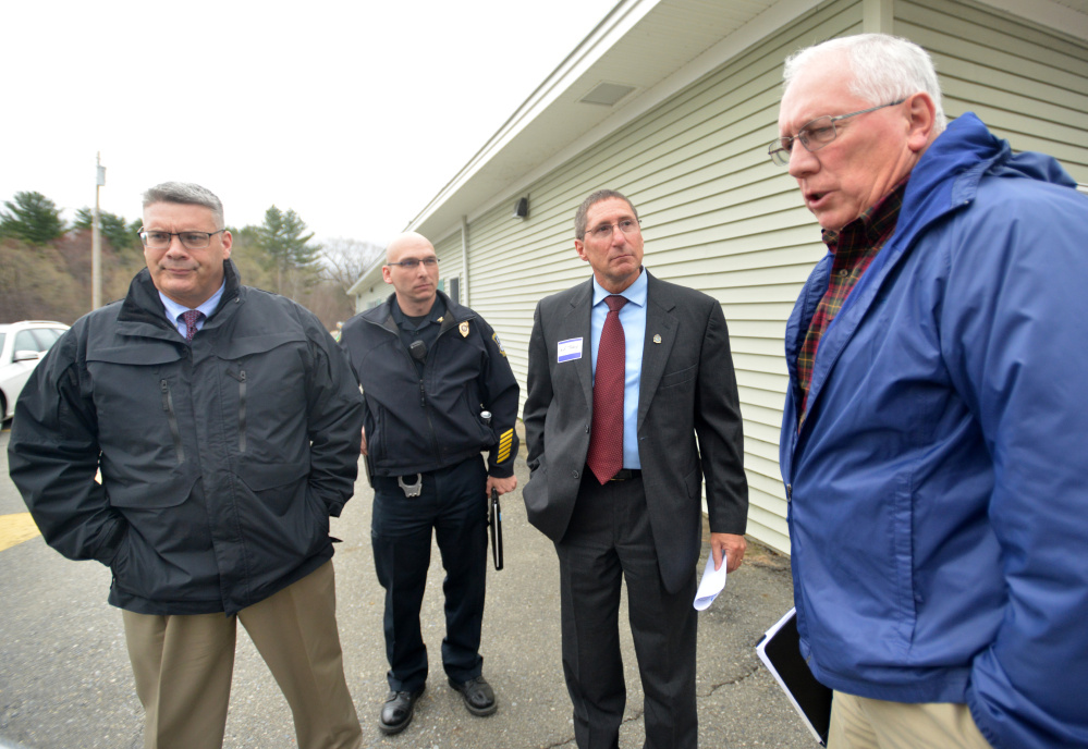 From left, Shawn O'Leary, Winslow's police chief; Bill Bonney, Waterville's deputy police chief; Michael Tracy, Oakland's police chief; and Joseph Massey, Waterville's police chief, talk on Thursday about their meeting with the Waterville Area Humane Society board of directors at the Humane Society in Waterville.