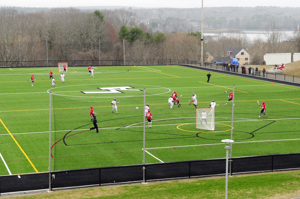 Because of wet fields at their home pitches, Cony and Gardiner played their Kennebec Valley Athletic Conference Class B game Thursday at Lincoln Academy in Newcastle.