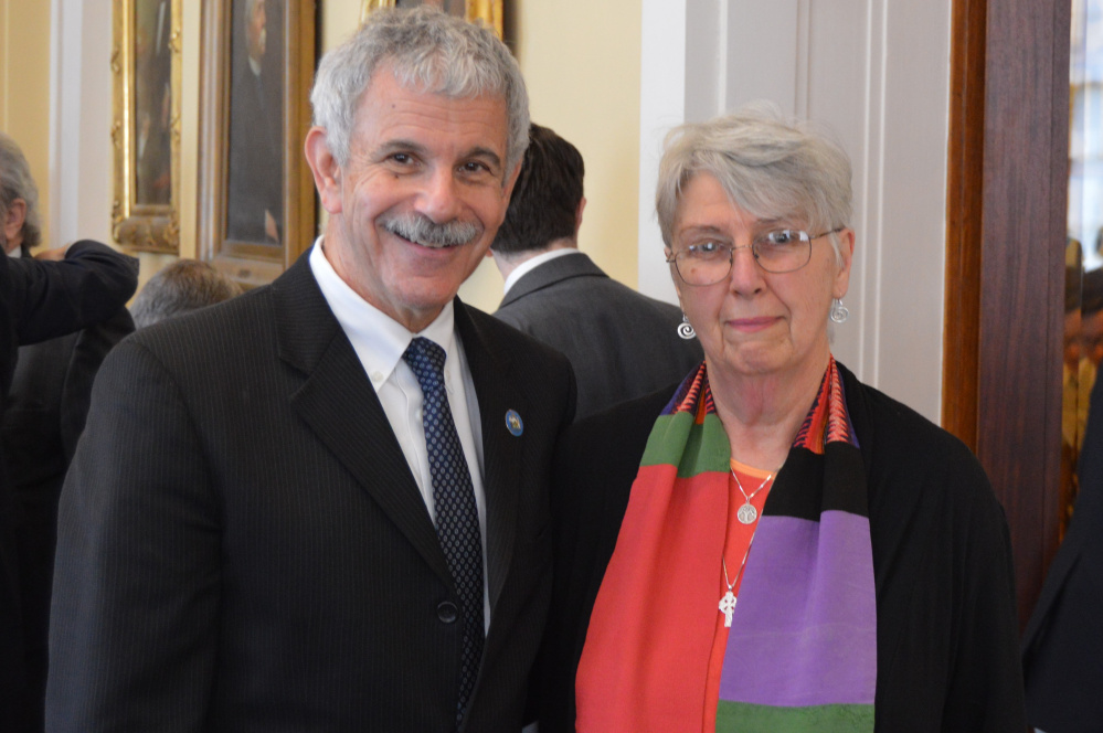 Contributed photo Sen. Roger Katz, R-Augusta, welcomes the Rev. Joan Smith, of Augusta, to the State House. Smith delivered the opening prayer April 13 in the Maine Senate.