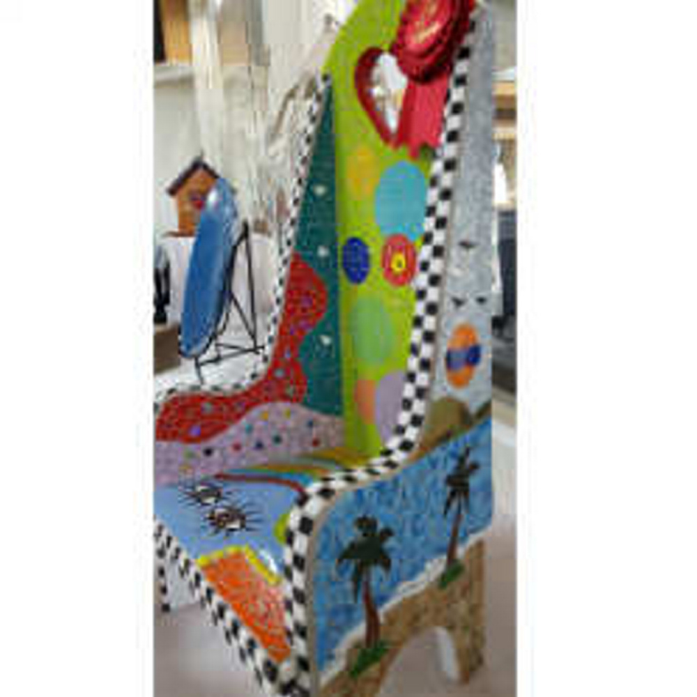 "Brenda Jolin, of Waterville, placed second in the Mosaics category with ""Mosaic Chair."""