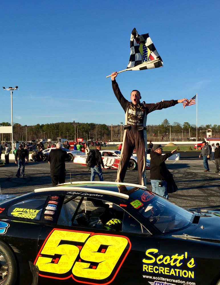 Reid Lanpher of Manchester celebrates after winning the PASS Speedway Homes 150 in April at Oxford Plains Speedway in Oxford. The Beech Ridge Motor Speedway point leader seeks his first Oxford 250 win on Sunday.