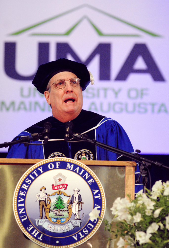 James Conneely, president of University of Maine at Augusta, speaks during a graduation ceremony May 14, 2016, at the Augusta Civic Center. Conneely is leaving the university at the end of the school year, prompting a search for a new president.