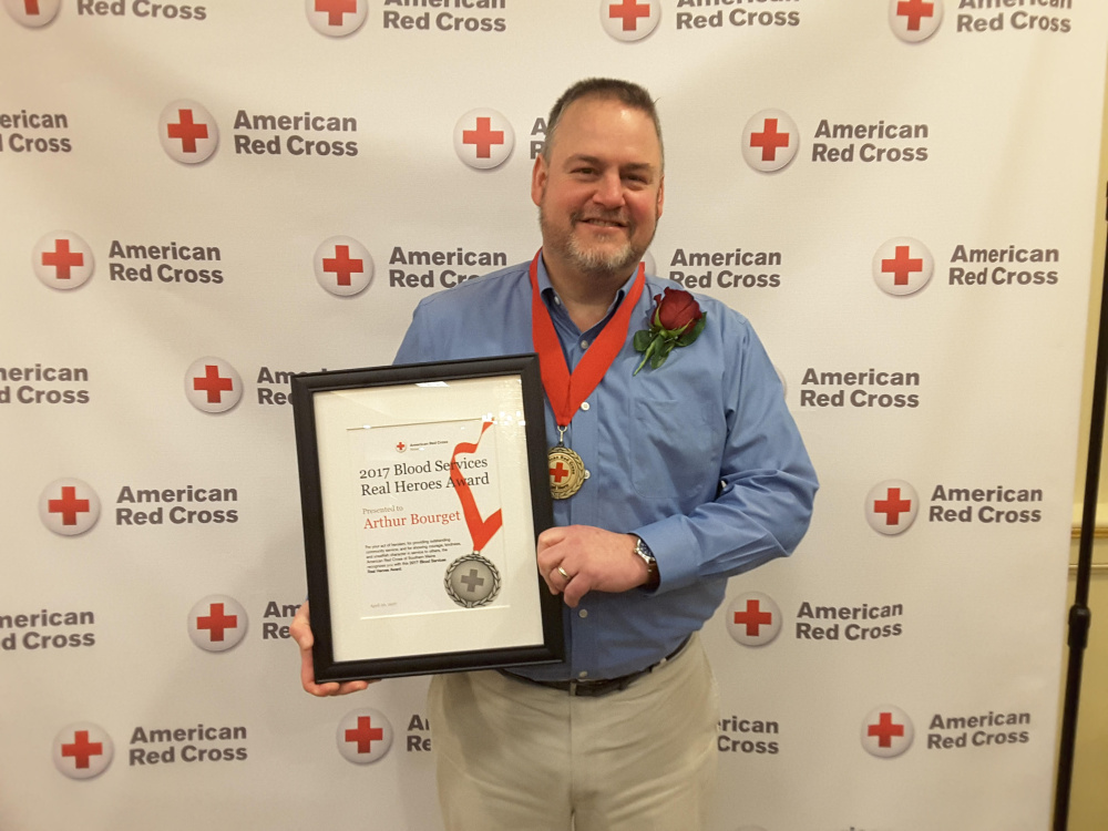 Arthur Bourget, of West Gardiner, was presented the 2017 Real Hero Blood Services Award by the American Red Cross of Maine. His work promoting blood donation was recognized at the Real Heroes Breakfast at the Italian Heritage Center in Portland.