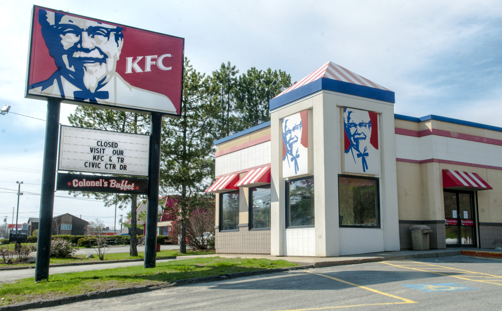The KFC restaurant that closed Friday is seen on Western Avenue in Augusta.