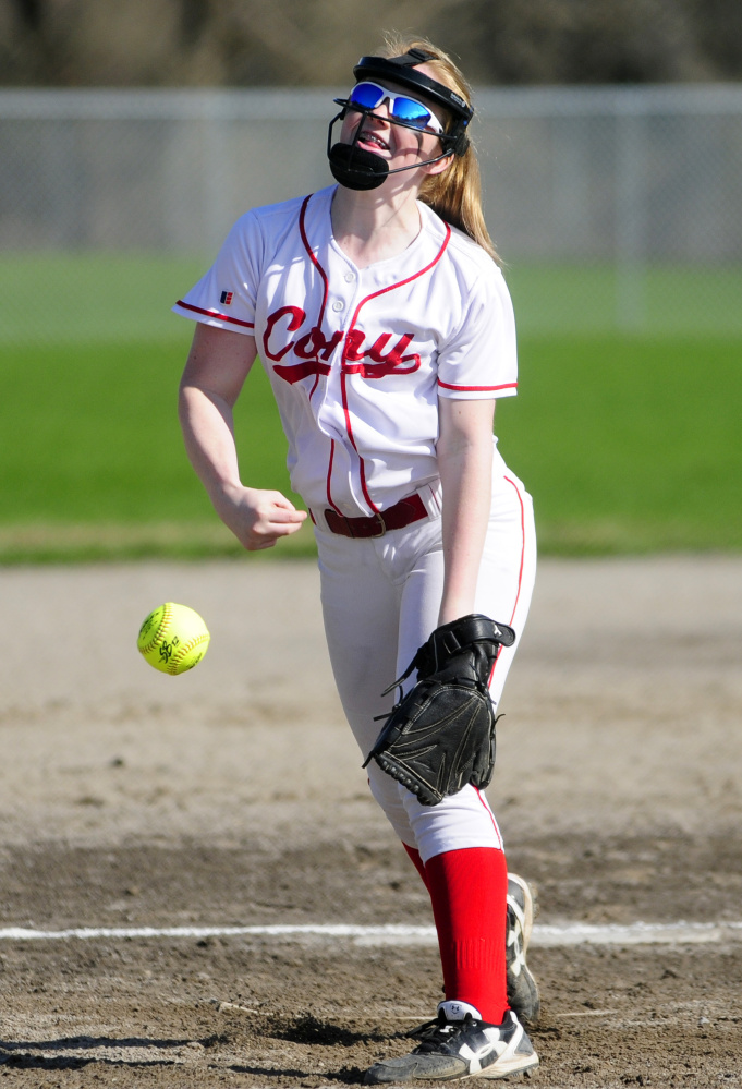 Cony's Gabby McGuire throws a pitch against Mt. Blue on Friday at Newman Brann Memorial Field on Friday in Augusta.