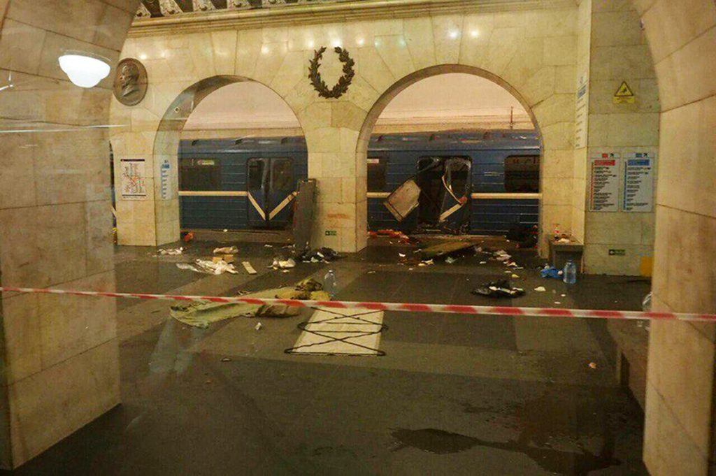 This subway train was hit by an explosion at the Tekhnologichesky Institut subway station in St. Petersburg, Russia, on Monday.