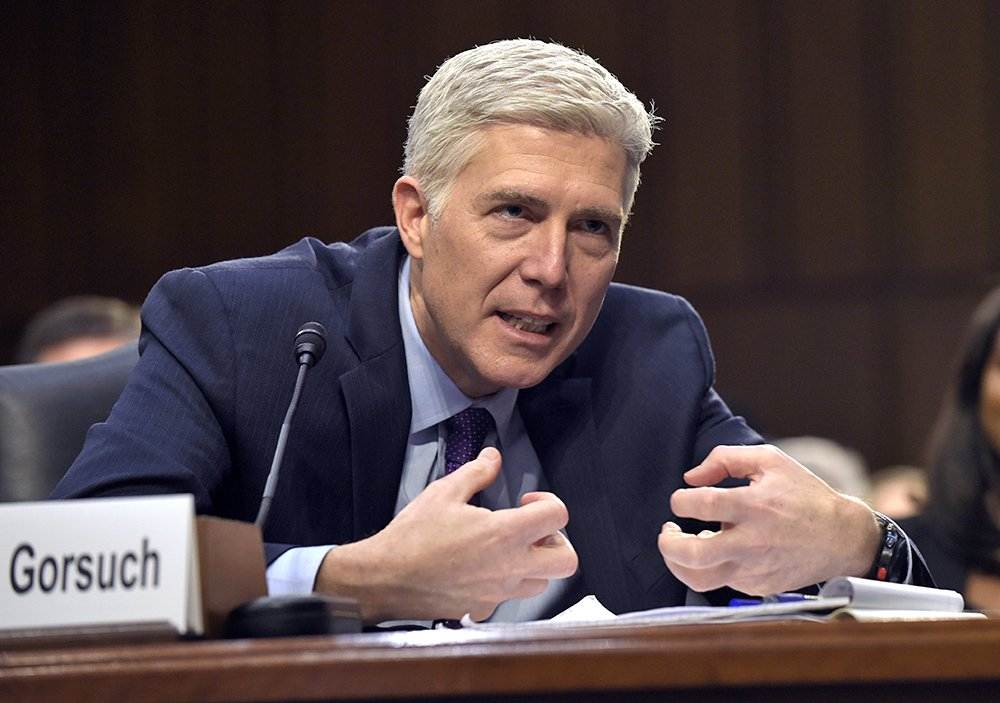 Supreme Court nominee Neil Gorsuch testifies on Capitol Hill during his confirmation hearing before the Senate Judiciary Committee on March 21, 2017.
