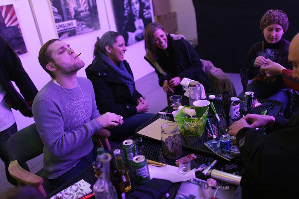 Club 64, a marijuana social club in Denver, celebrated its opening on New Year's Eve 2012.