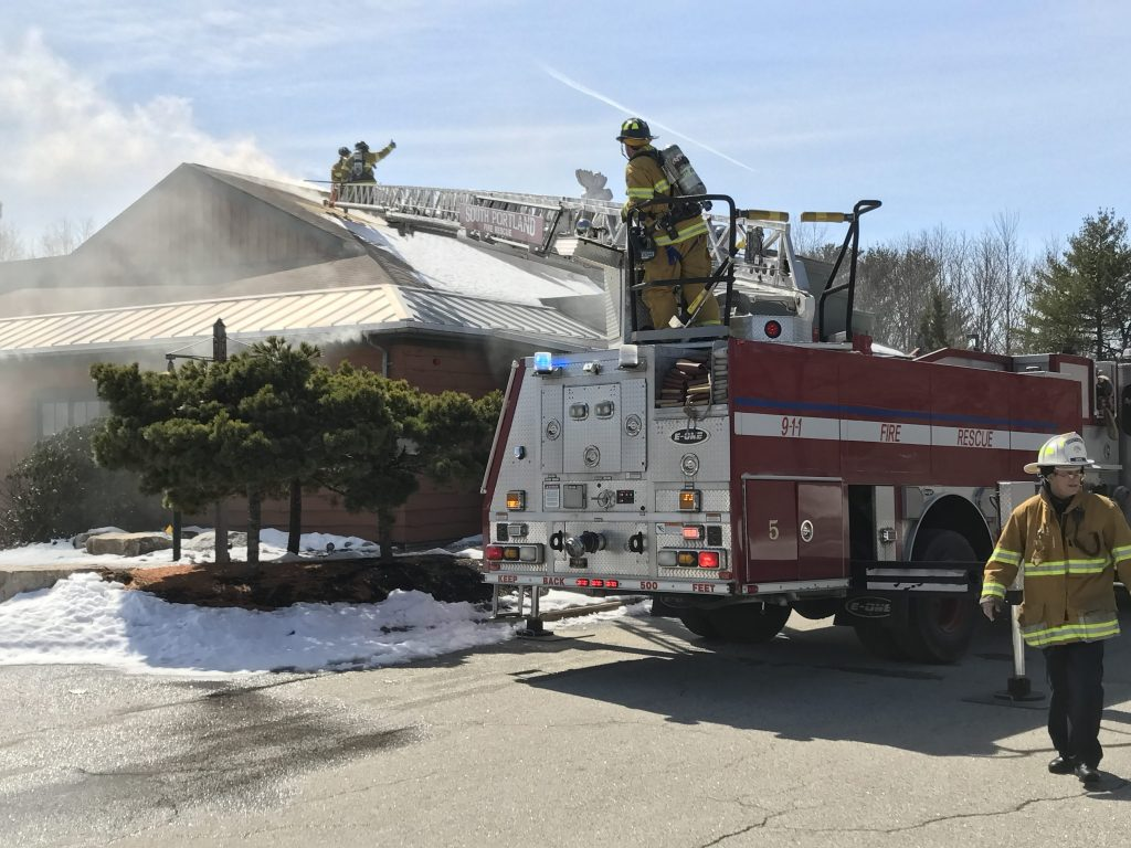 The former Bugaboo Creek Steakhouse in South Portland caught fire on Monday.
