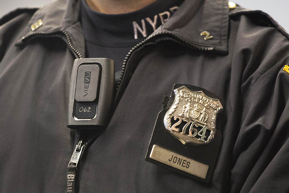 New York Police Department officer Joshua Jones wears a VieVu body camera at a 2014 news conference in New York.