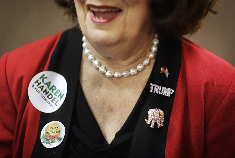 Helen Story, supporter of Republican candidate Karen Handel at Handel's election night watch party in Roswell, Ga.