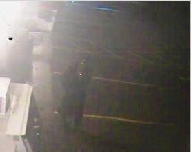 A surveillance photo from Annie's Market in Sidney shows the suspect police believe damaged the convenience store early Sunday morning. The suspect was described as a man who was wearing jeans, a skull face mask and a dark trench coat.