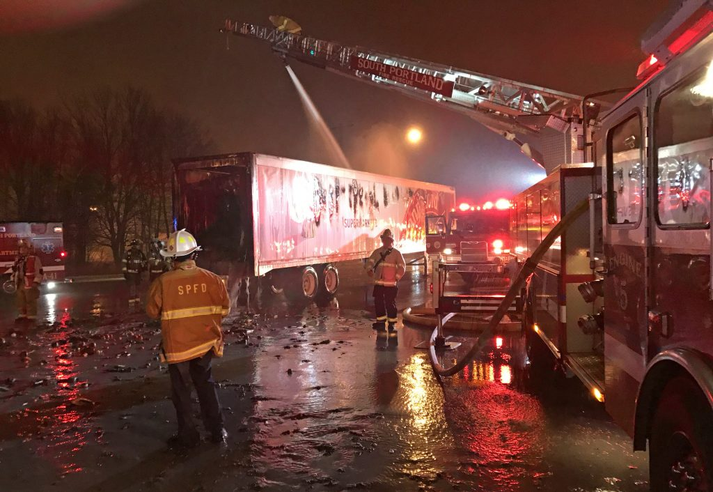South Portland firefighters on the scene Wednesday night at the Hannaford warehouse on  54 Hemco Road.