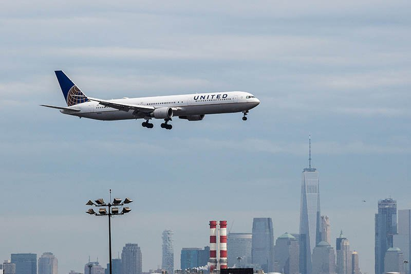 A United Airlines  airplane  landing at Newark on April 12.