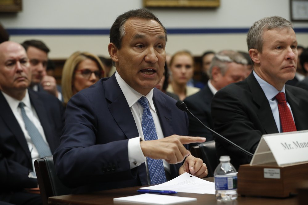 "United Airlines CEO Oscar Munoz said he was at the hearing ""because on April 9 we had a serious breach of public trust"" when a passenger was injured while being taken off a plane."