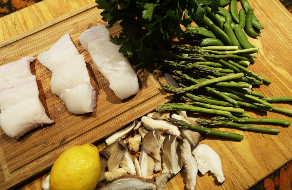 The ingredients for Christine Burns Rudalevige's Seize the Moment Halibut and Spring Vegetables.