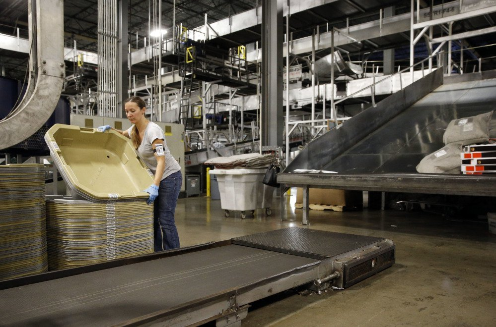 A UPS employee works inside the company's Worldport hub in Louisville, Ky., in this 2015 photo. In a positive sign for the U.S. economy, the number of part-time workers who want full-time jobs reached its lowest point in nine years.