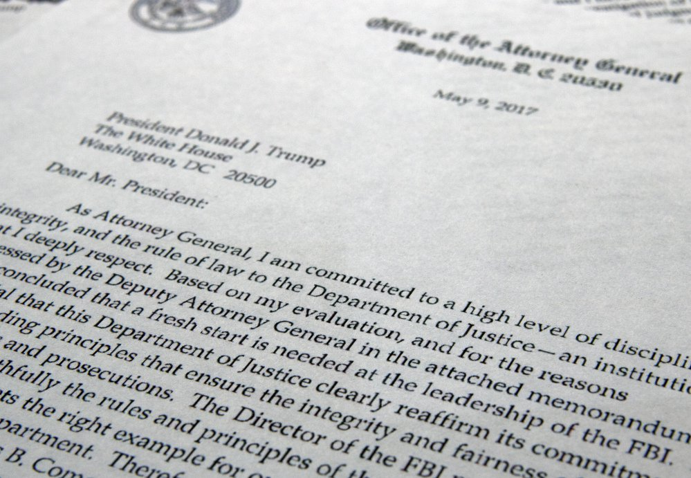 "The letter from Attorney General Jeff Sessions to President Trump to FBI Director James Comey is shown in Washington, where  Sessions said a ""fresh start is needed at the leadership of the FBI."""