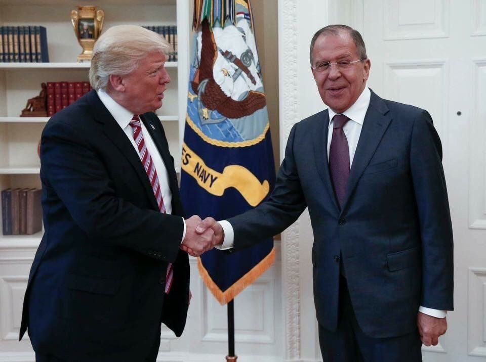President Trump greets Russian Foreign Minister Sergey Lavrov at the White House on Wednesday.