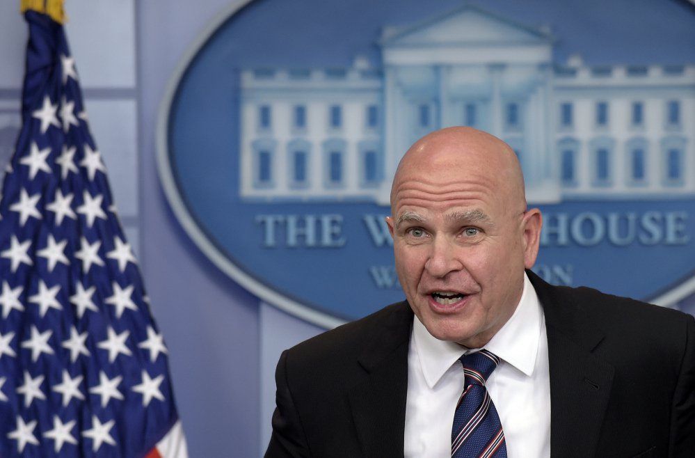 "National Security Adviser H.R. McMaster speaks during a briefing at the White House in Washington on Tuesday, when he said that President Trump's revelations to Russian officials about the terrorist threat from the Islamic State group were ""wholly appropriate."""