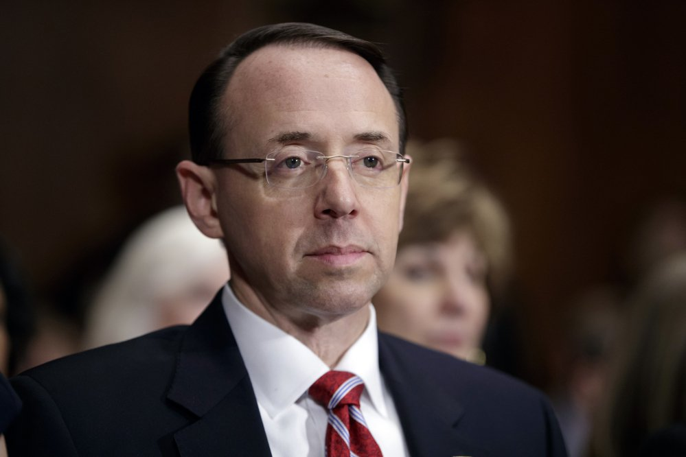 Deputy Attorney General Rod Rosenstein, shown in March, held closed-door meetings with lawmakers on Thursday and Friday.