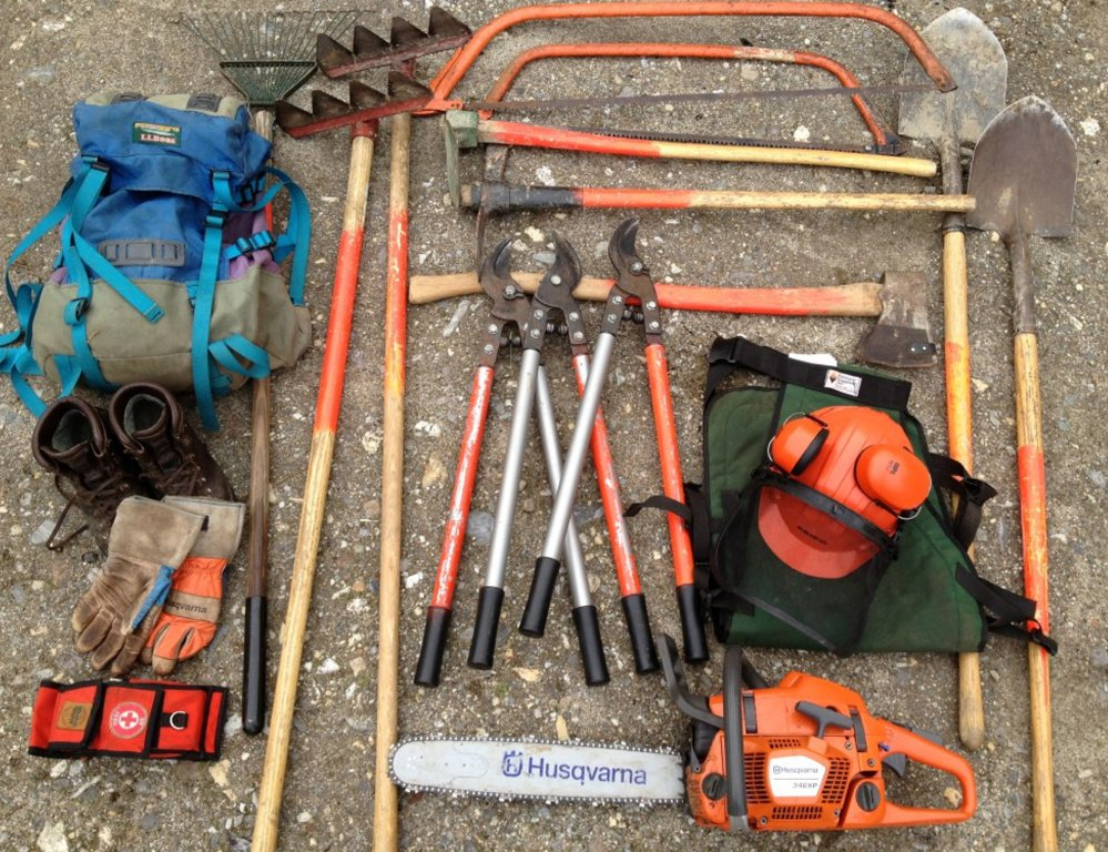 Some essential tools for the job, if that job is clearing your personal two-mile section of the Appalachian Trail.