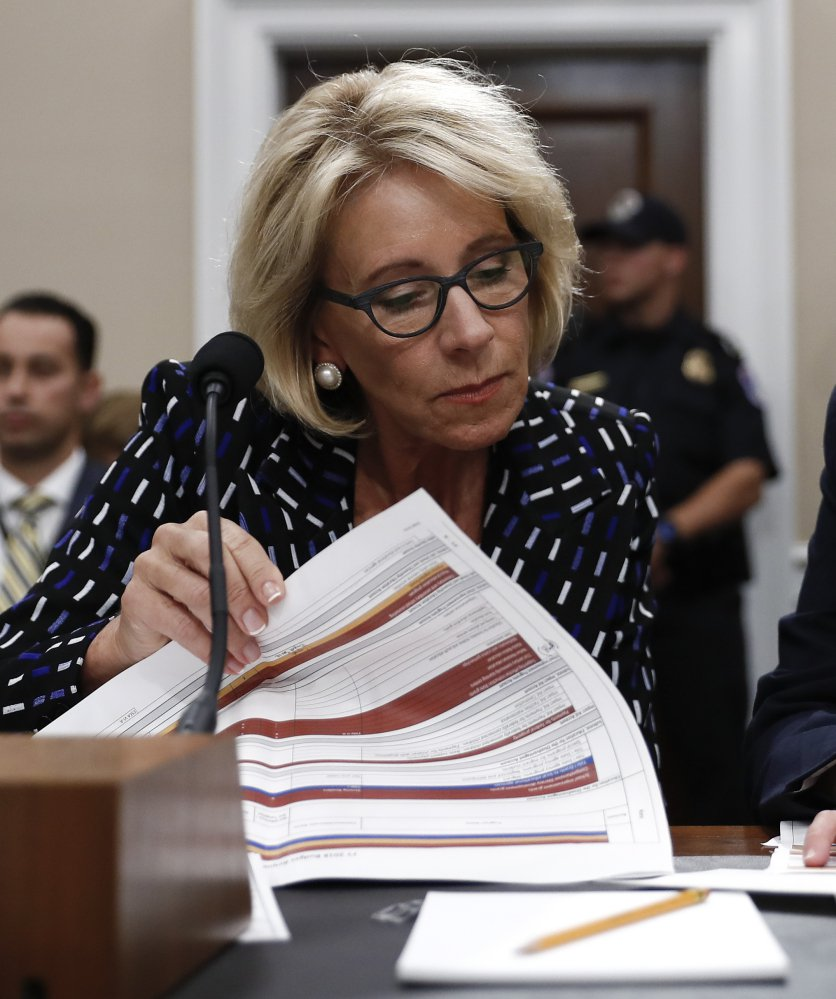 Education Secretary Betsy DeVos supports a proposal to use federal money to fund private school scholarships.