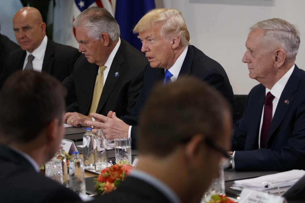 Donald Trump flanked by National Security Adviser H.R. McMaster, Secretary of State Rex Tillerson and Secretary of Defense Jim Mattis at a meeting at European Union headquarters on Thursday.